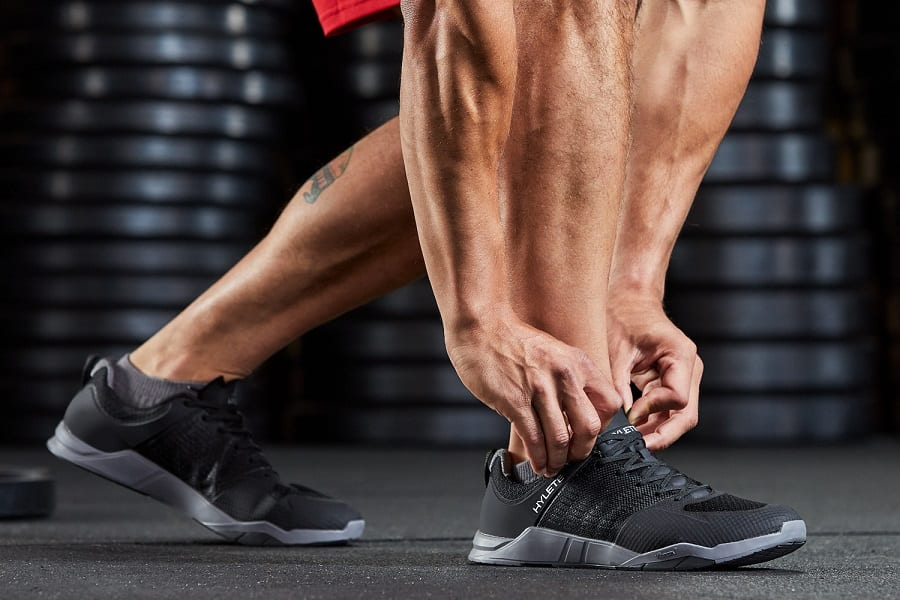 crossfit shoes on man