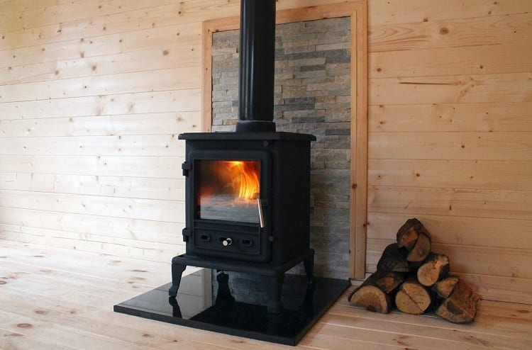 Heating Garage With Wooden Logs Heater