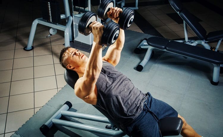 gym chest workout with dumbbells push-up alternative