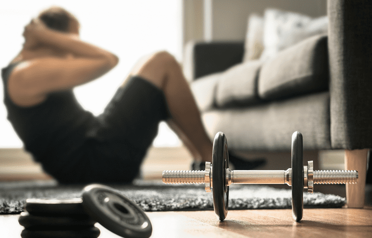 training at home with dumbells