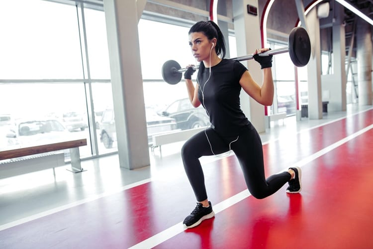 Variations of barbell lunges